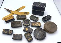 14pcs Antique Boxes and Two Tole Objects Sewing kit