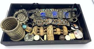 Mixed Ethnic Tribal Jewelry LOT. Large wide cuff bracel