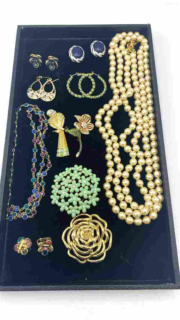 Lot Costume Jewelry. Brooches, Pins, Necklaces, Earring