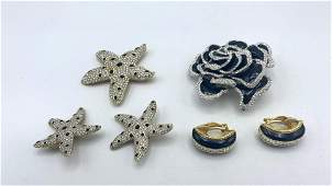 SWAROVSKI & JOAN RIVERS Crystal Jewelry Lot. Signed Cos