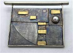 Sterling and 22K Gold Fullerton Bahr Modern Brooch Pea