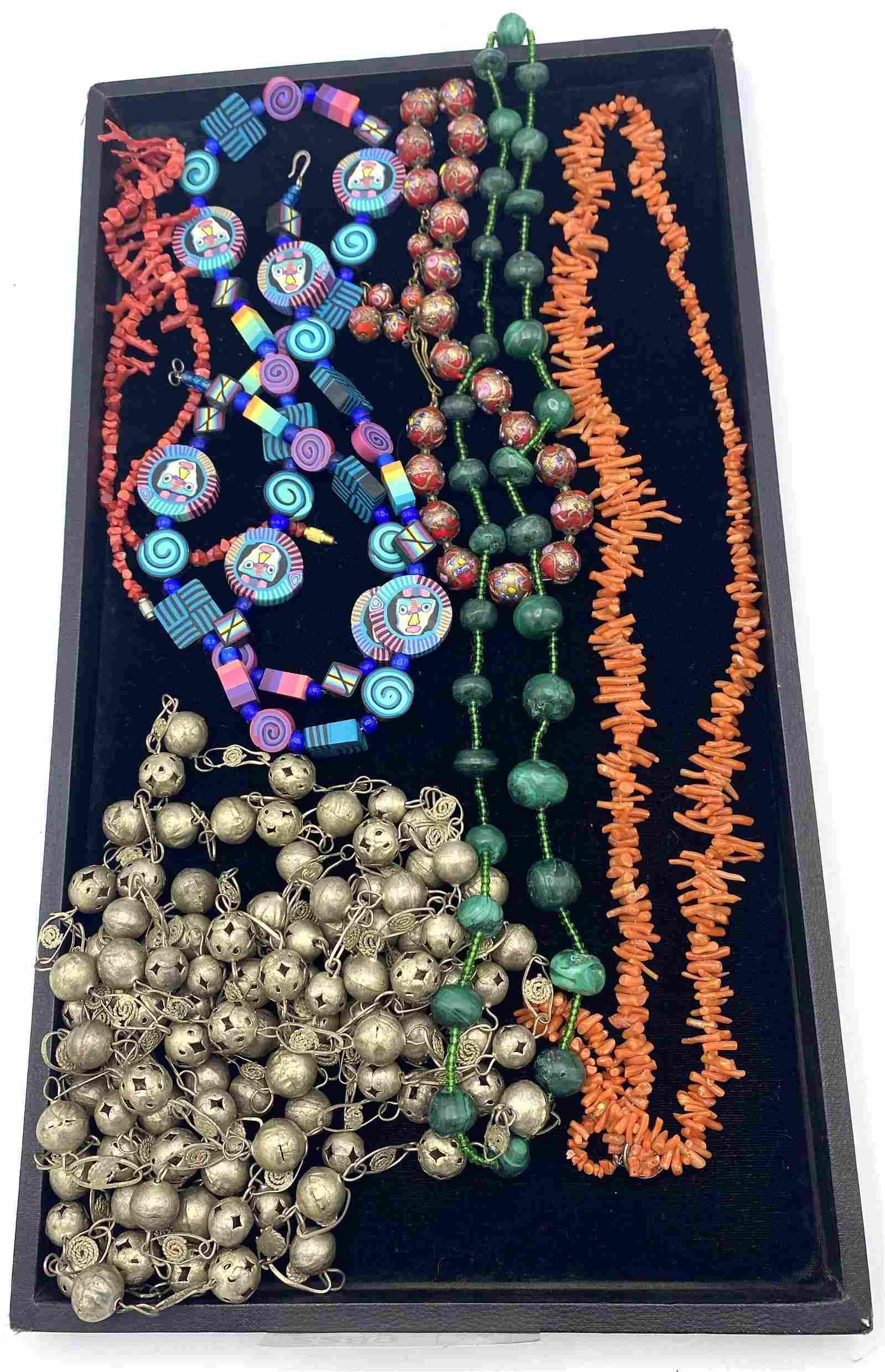 Lot bead necklaces. Fimo dough figural bead necklace. M