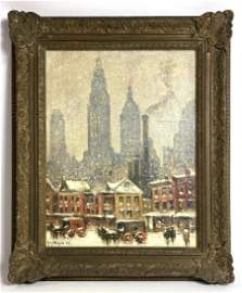 GUY WIGGINS oil Painting on Panel. OLD NEW YORK, NEW