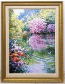CHARLES CHAN Oil Painting on Canvas Floral lake scene