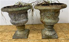 Pair Large Cast Iron Outdoor Garden Urns Planters
