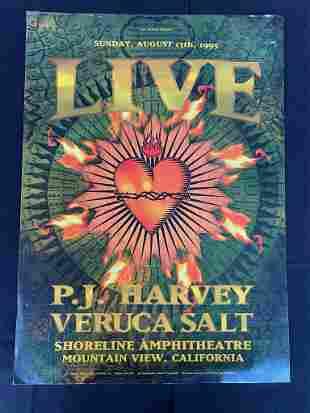 Live Concert Poster with Pj Harvey and Veruca Salt Augu
