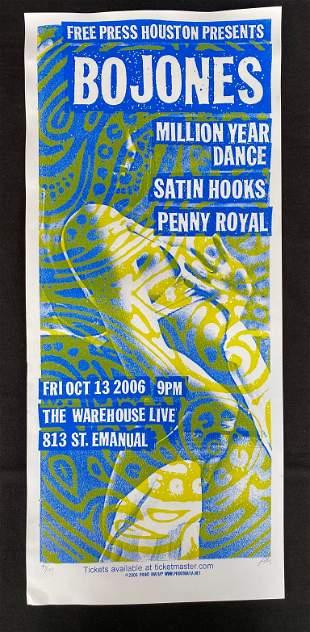 Bo Jones. Concert Poster Million Year Dance. Satin Hook