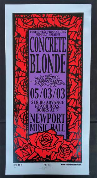 Concrete Blonde Concert Poster May Third 2003 at the Ne