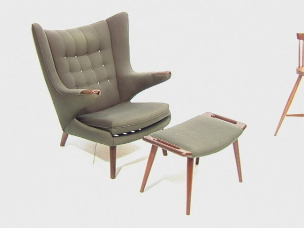 2: Hans WEGNER Papa Bear Chair and Ottoman Footstool