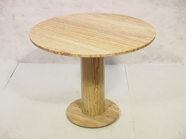 7: Italian Travertine Dining Cafe Table.  Round Top