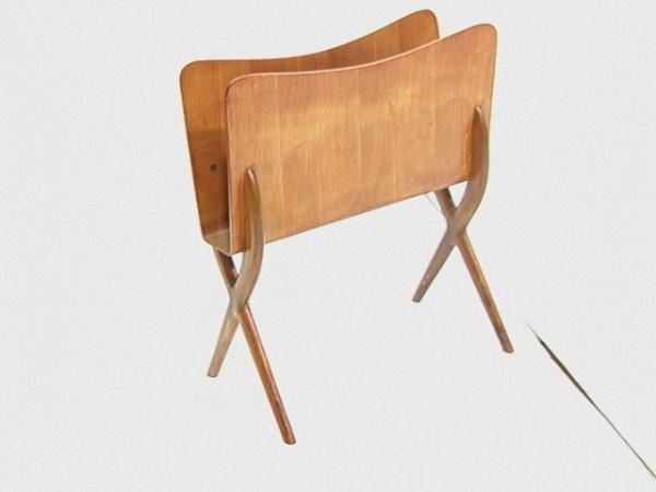 10: Gio Ponti Style Magazine Rack with X Wood Base.