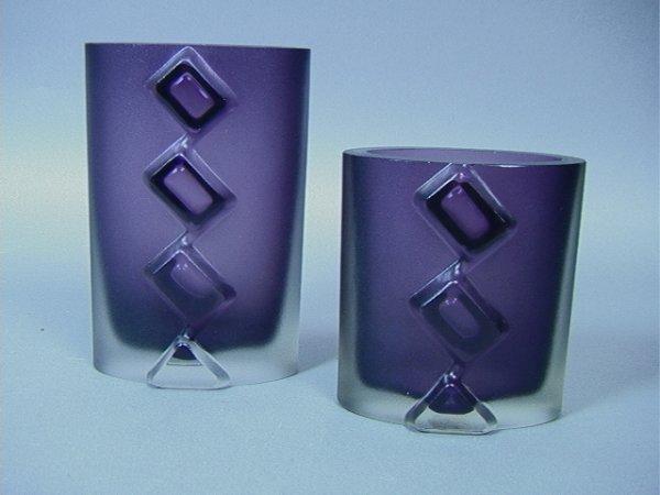 12: Pair Tapio Wirkkala Art Glass Vases.  Purple fros