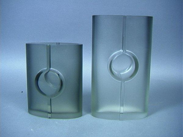 14: Pair Tapio Wirkkala Art Glass Vases.  Green Gray