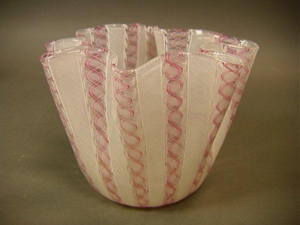 18: Venini Fazzoletto Handkerchief Vase with Pink and