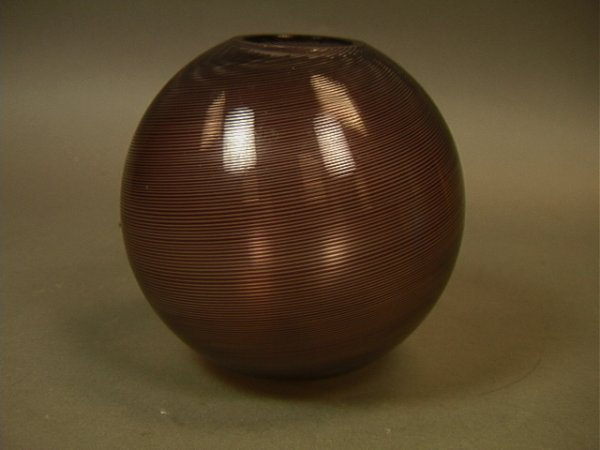20: Venini Art Glass Rose Bowl Vase.  Striped design.