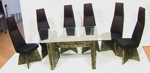 66: Paul EVANS Style Bronzed Goop Table and Chairs Di