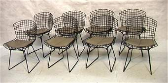 344: Set 8 Harry Bertoia Wire Side Chairs with Gray Cu