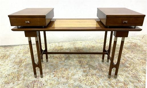 Designer Mid Century Modern Writing Desk Console. Open