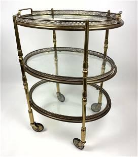 Italian Style Small Brass Rolling Server Cart. Lift ou