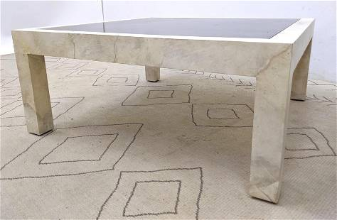 Karl Springer Parchment Leather Covered Coffee Table.