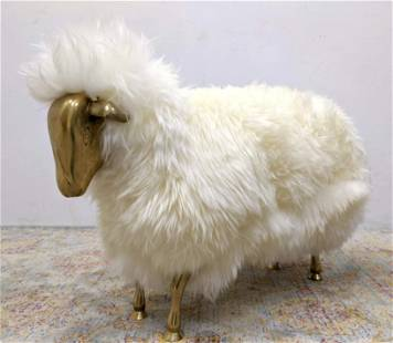 Francois-Xavier Lalanne Style Sheep Sculpture. Fur wit