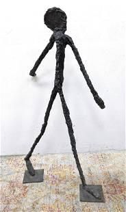 GIACOMETTI Style Bronze Figure of Walking Man. Brutalis