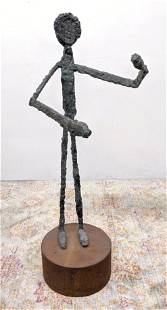 Tall Brutalist Bronze Figural Sculpture. Giacometti Sty