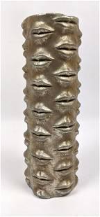 Golden Lips Cylinder Vase. Jonathan Adler style. Cylind