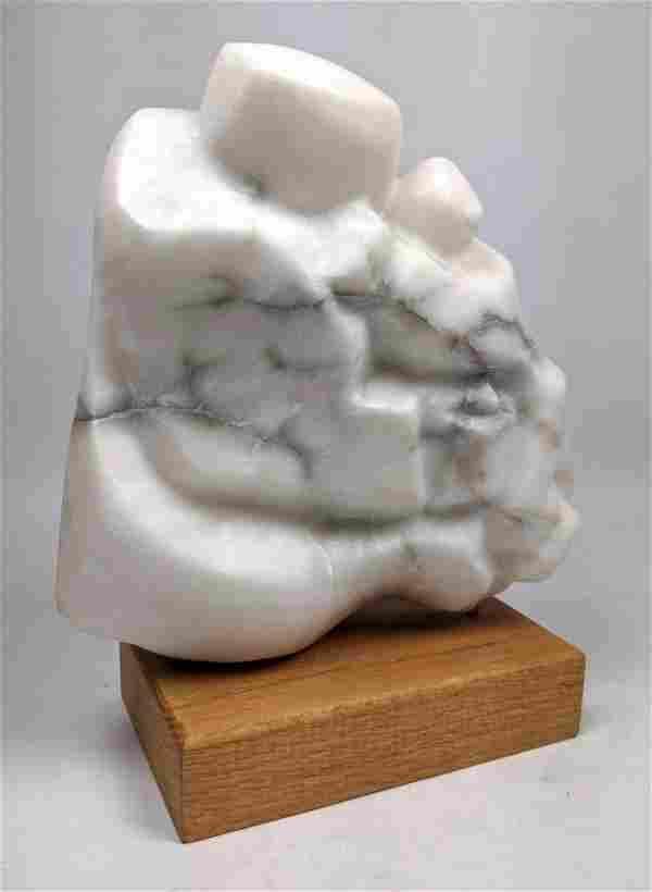 Carved Marble Modern Abstract Figural Sculpture. Wood b