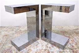 """Pair PAUL EVANS """"Cityscaper"""" Side Table stands. Chrome"""