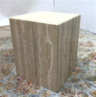Travertine Marble Pedestal Stand.  Side Table.