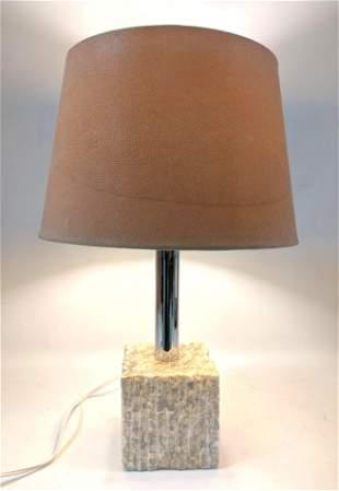 Brutalist Marble Chrome Modernist Table Lamp. Chiseled