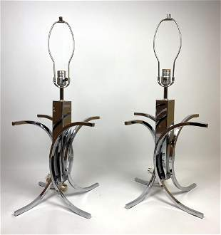 Pair Modernist Chrome Table Lamps. Curved Accents.