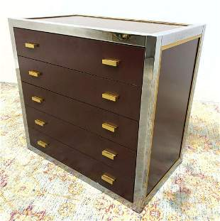 Modern Dresser Chest of Drawers. Wood with Chrome  & Go