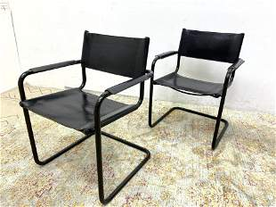Pair Italian Leather and Tube Frame Arm Chairs.