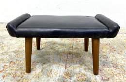 Danish Modern Teak Leg Footstool Bench.