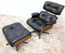 Eames Style Leather Lounge Chair Ottoman. Black leather