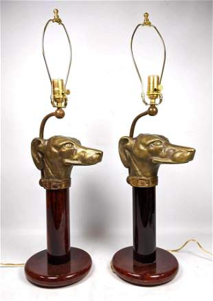 Pr Heavy Brass Dog Head Figural Table Lamps. Lacquered
