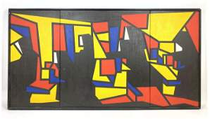 Graphic Abstract Modern Oil Painting on Canvas. Triptyc
