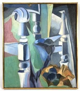 HILDEGARD RATH Cubist Modernist Painting. Oil on Canvas