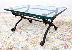 Heavy Wrought Iron Base Glass Top Coffee Table. Thick g
