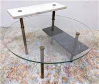 Designer Three Tier Glass Marble Cocktail Table. Modern