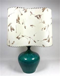 Green Glazed Art Pottery Table Lamp. Vintage shade with