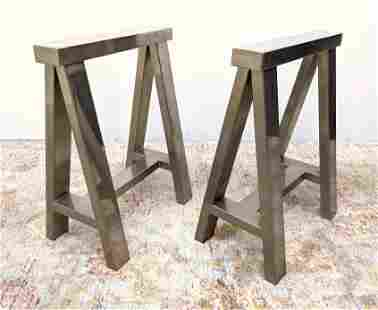 Pr Wide Chrome Saw Horse Table Bases. Heavy constructio
