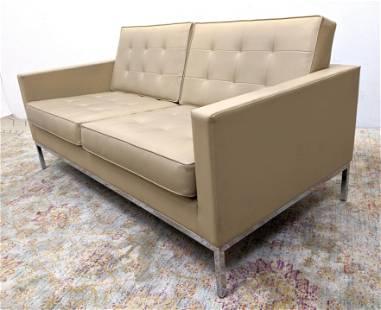 FLORENCE KNOLL Love Seat Sofa. Tan Leather. KNOLL STUDI