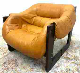LAFER MP Brazilian Rosewood Leather Lounge Chair. Golde