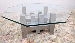 Architectural Stainless Glass Top Coffee Table Hexagon