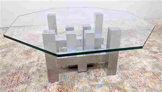 Architectural Stainless Glass Top Coffee Table. Hexagon