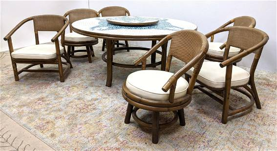 Ficks Reed Dining Set, Tile Top Table and 6 Chairs. Ti