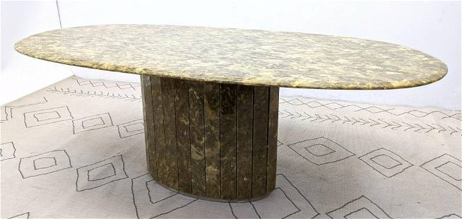 Large Oval Stone Composite Dining Table. Attributed to